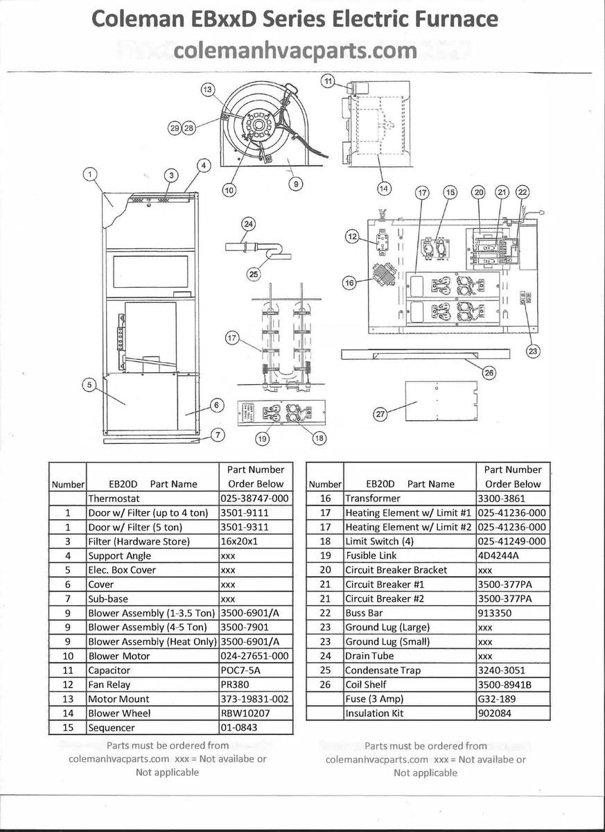 EB20D Coleman Electric Furnace Parts – HVACpartstore