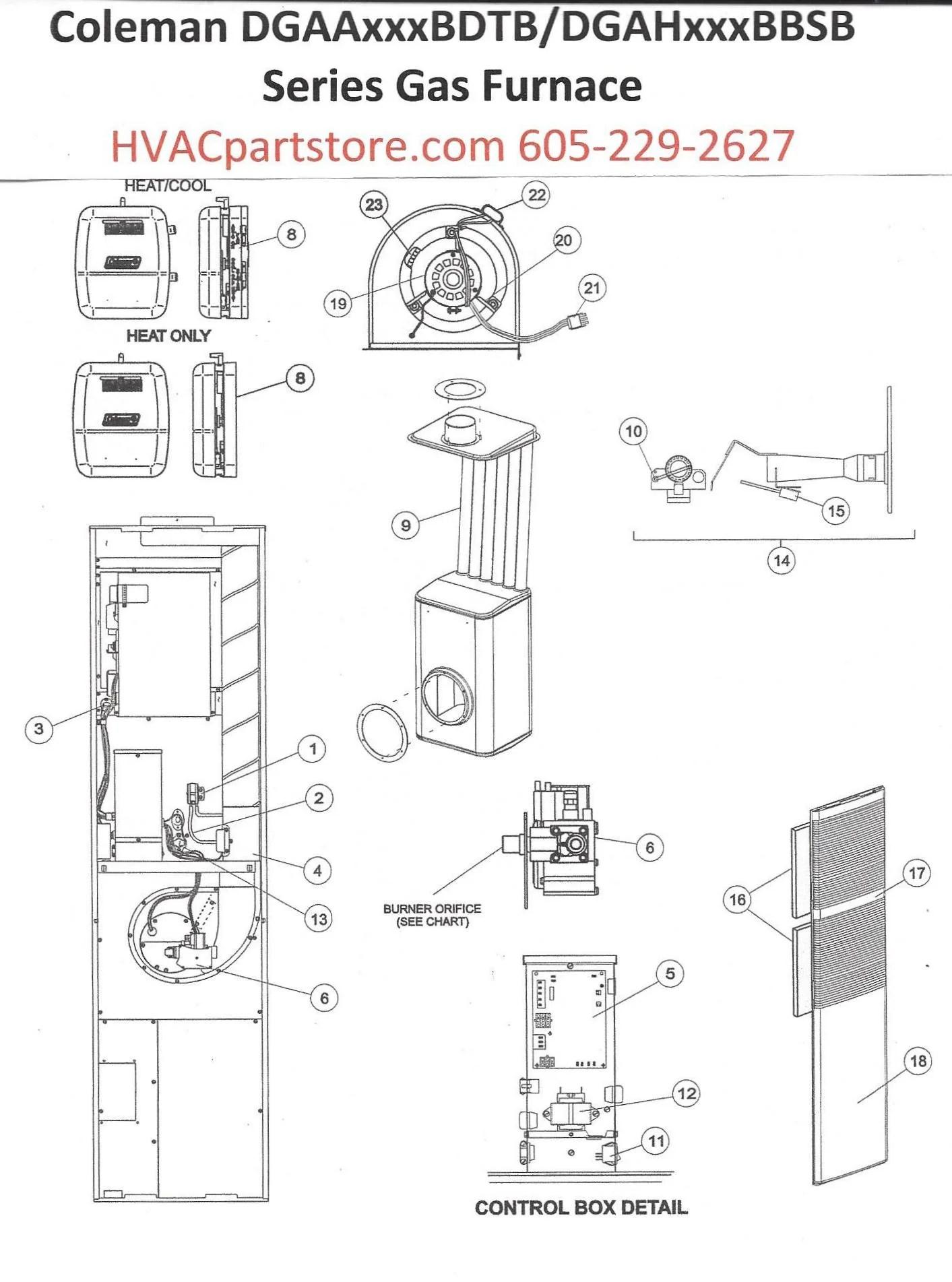 DGAA056BDTB Coleman Gas Furnace Parts – HVACpartstore