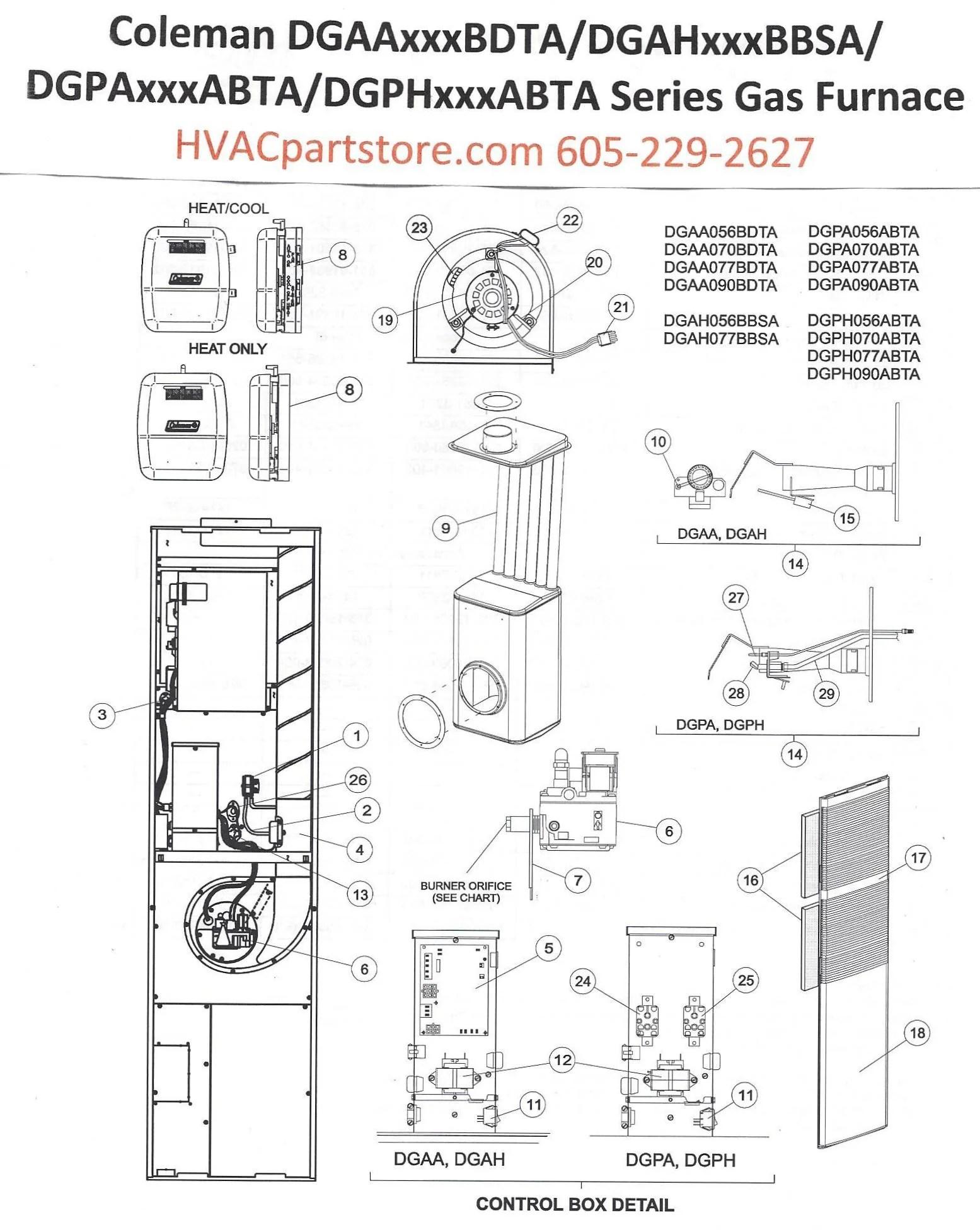 DGPH056ABTA Coleman Gas Furnace Parts – HVACpartstore