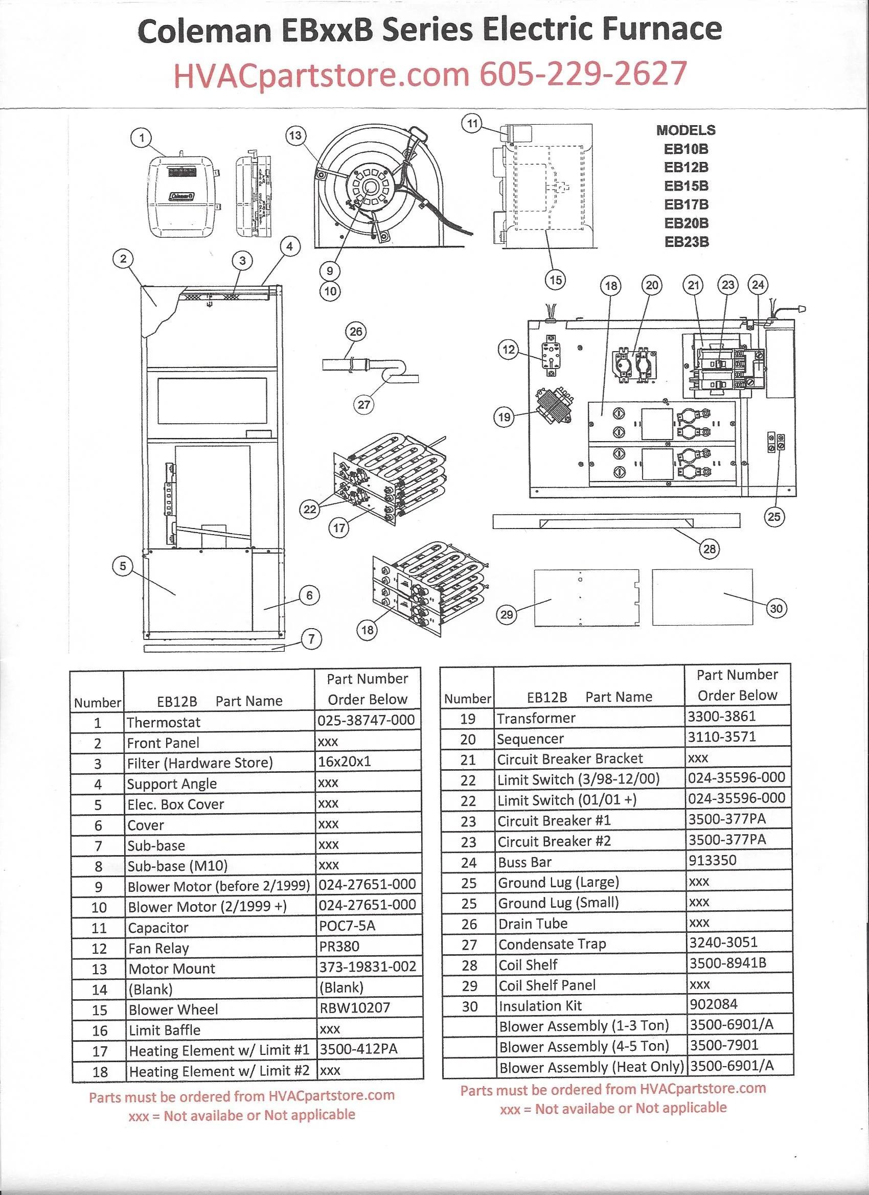 EB12B Coleman Electric Furnace Parts – HVACpartstore