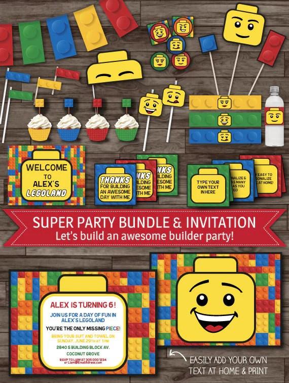 Building Block Party Decor Builder Party Pack