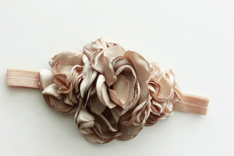 Beige Satin Flower Headband