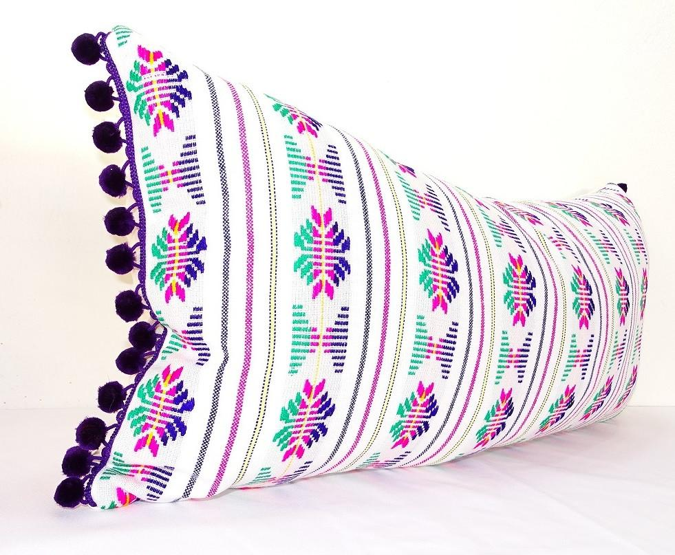 lumbar white pillow cover 14x28 with purple pom poms boho romm decor
