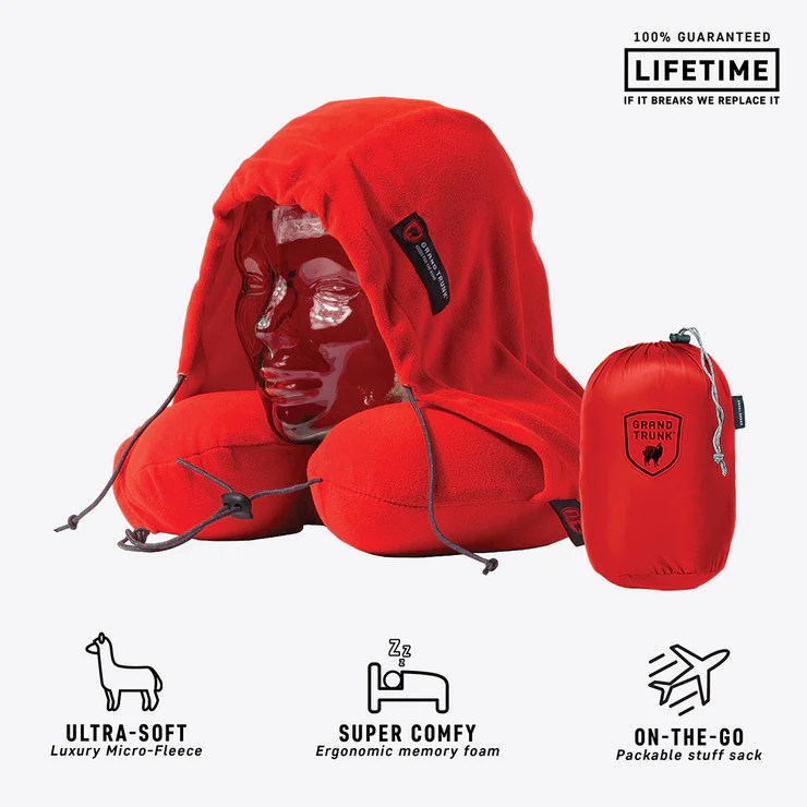 hooded travel neck pillow red