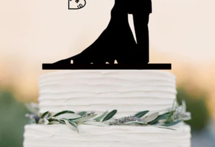 Custom Wedding Cake Topperhooked On Love Personalized Topper