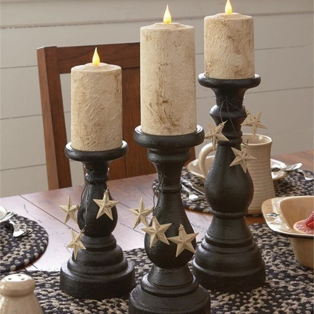 Blackstone Pillar Candle Holders Black Set Of 3 DL Country Barn