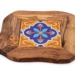 Ceramic And Olive Wood Trivet Tessuti Toscani