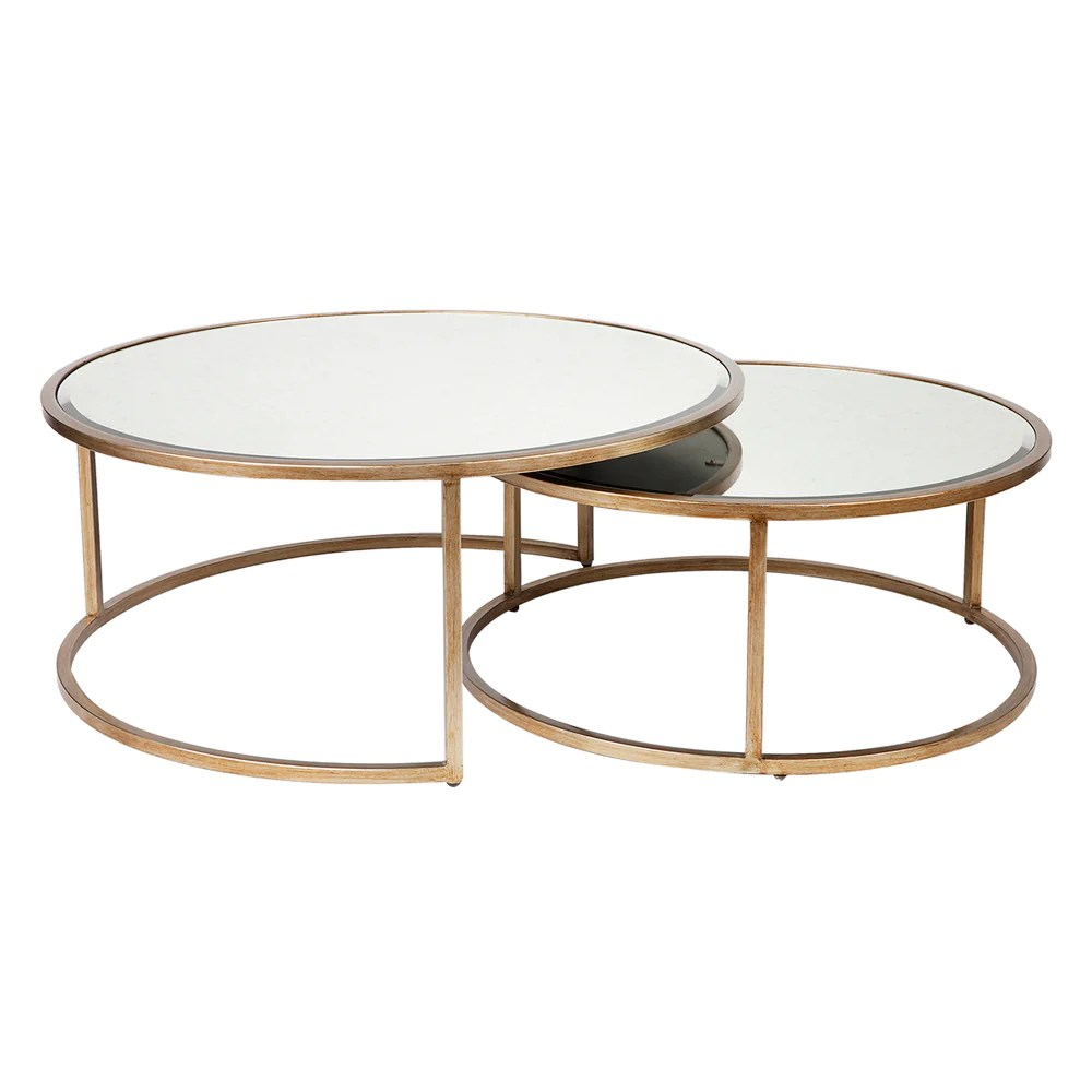 martini antique glass nesting coffee tables set 2 antique gold round