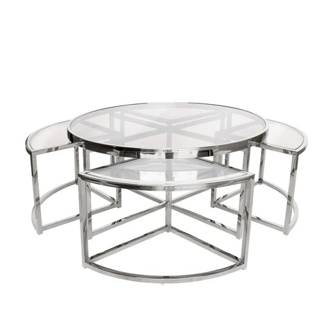 sundance nesting coffee table 5 piece silver with clear glass