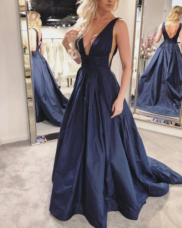 Navy Blue Long Taffeta Backless Prom Dresses 2018 Womens