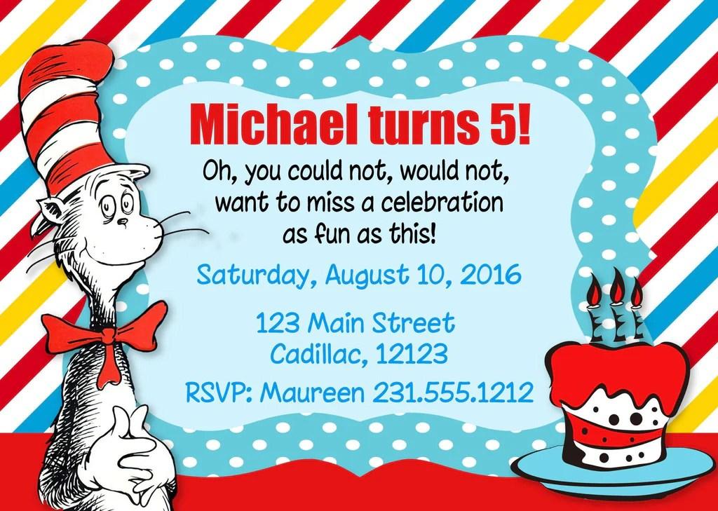 Dr Seuss Birthday Party Invitation Kids Birthday Party Invitations Storkbabygiftbaskets Com