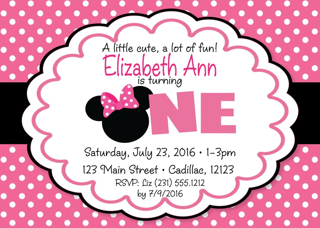 Minnie Mouse 1st Birthday Invitation Pink Storkbabygiftbaskets Com