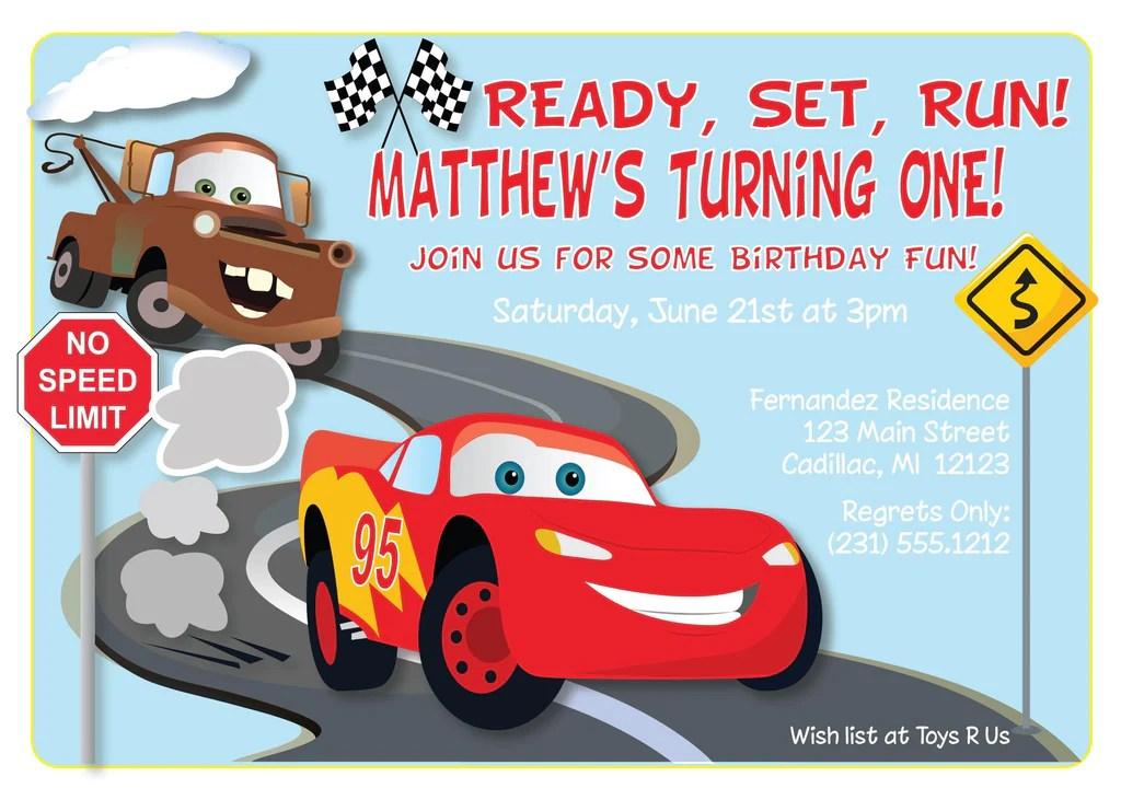 cars lightning mcqueen birthday invitations kbi119