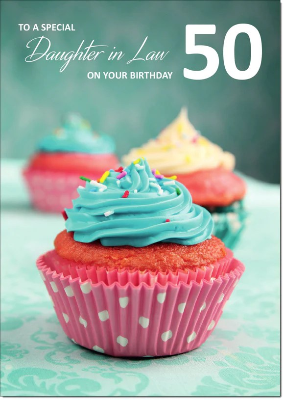 Doodlecards Daughter In Law 50th Birthday Card Medium Doodlecards