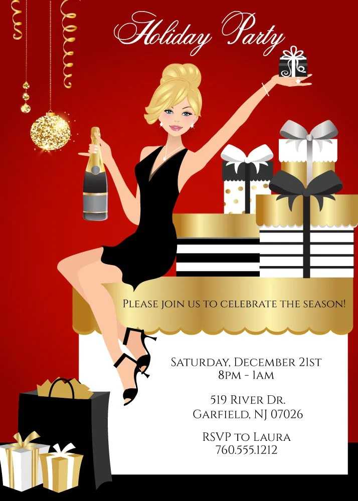 Elegant Christmas Party Invitations Announce It