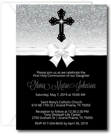 Girl Praying First Communion Invitations Announce It