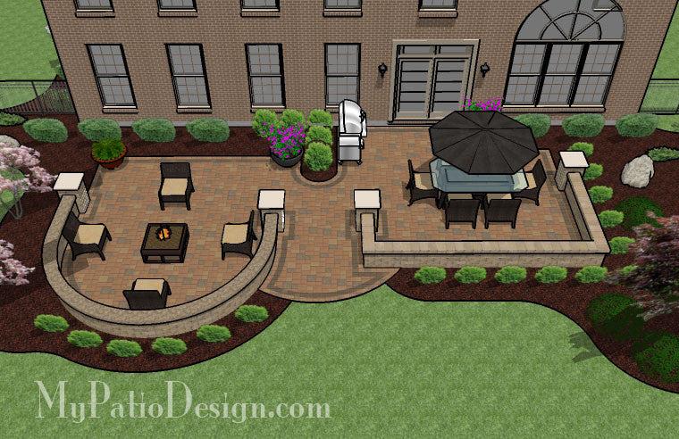 705 sq ft beautiful backyard patio design with seat wall