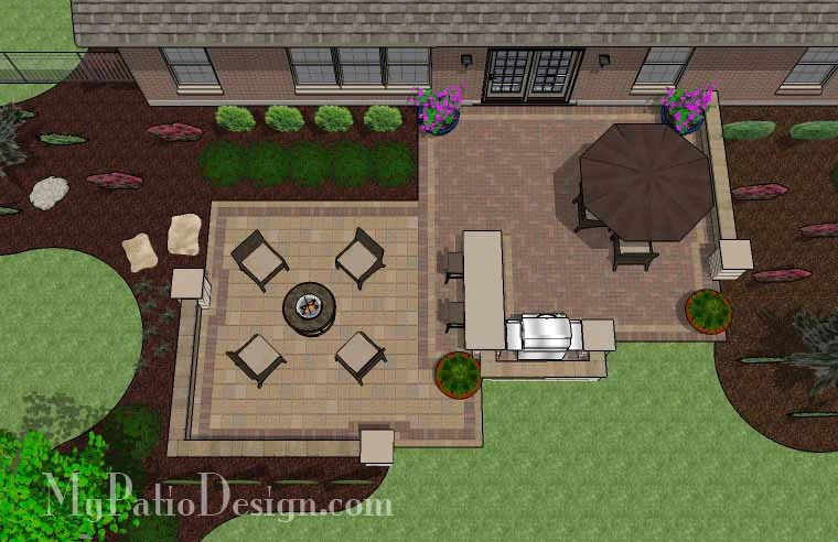 665 sq ft contrasting paver patio design with grill station bar