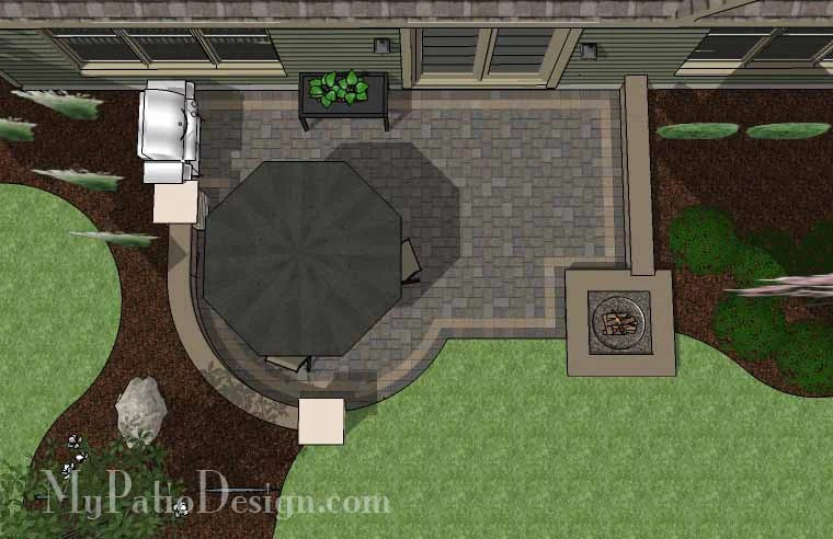 300 sq ft diy simple to build patio design with fire pit