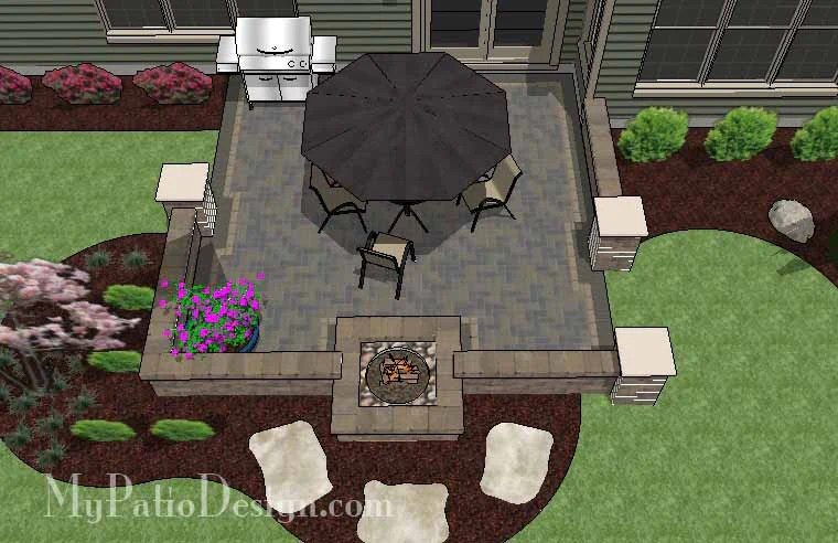 320 sq ft diy square brick patio design with fire pit