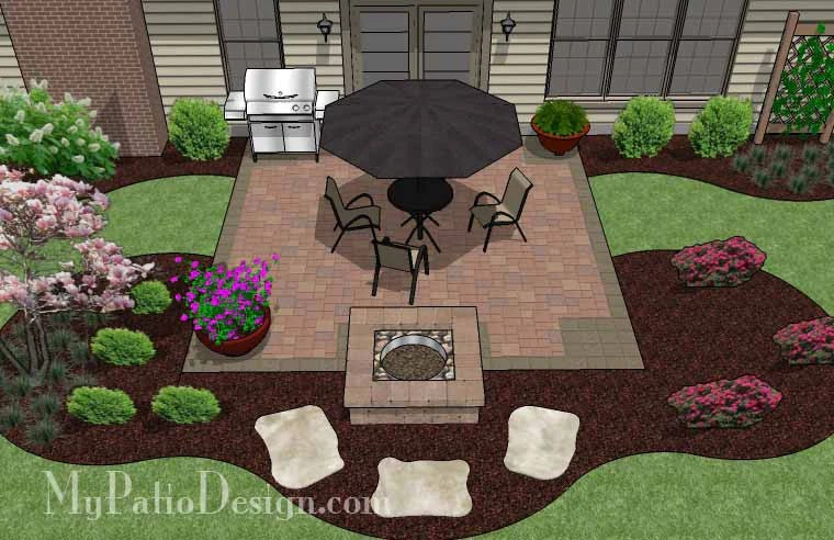 320 sq ft diy square patio design with fire pit