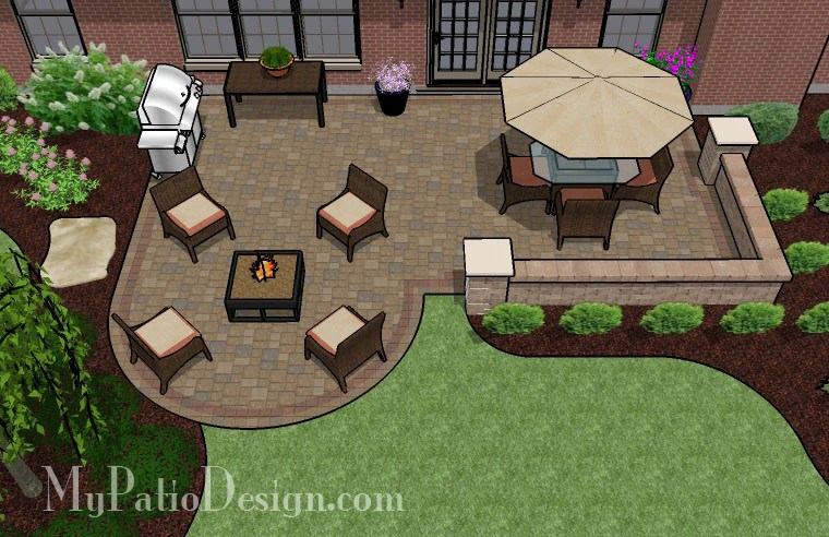525 sq ft dreamy paver patio design with seat wall