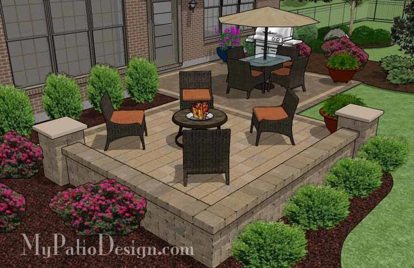 490 Sq Ft Overlapping Rectangle Patio Design With Seat