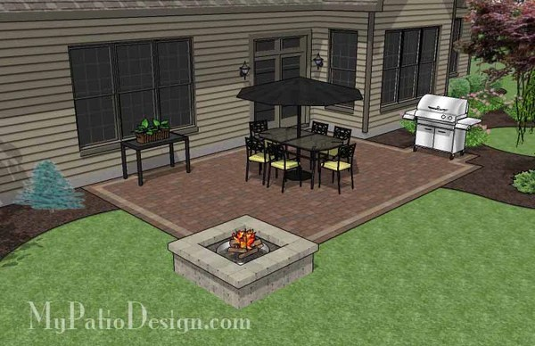 Rectangular Patio Design With Fire Pit Downloadable Plan