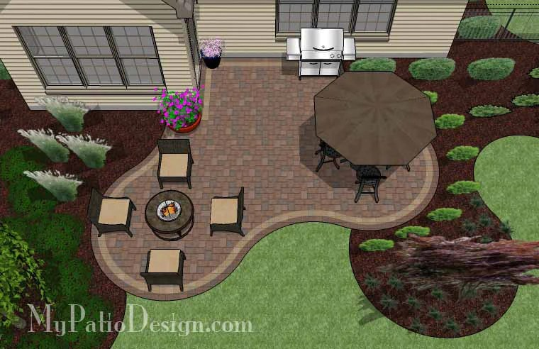390 sq ft small outdoor living patio design
