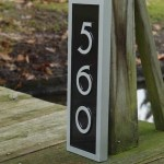 Vertical House Number Plaque With Mid Century Modern Font The Carving Company