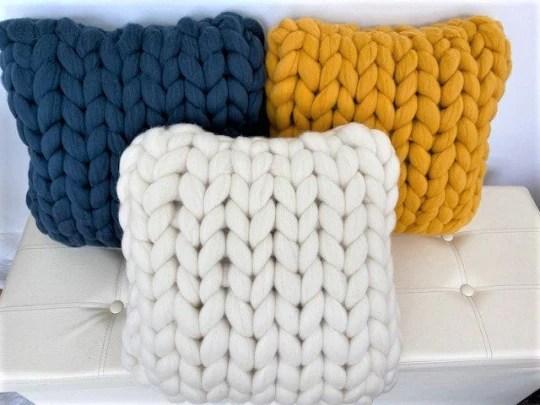 square pillow merino wool