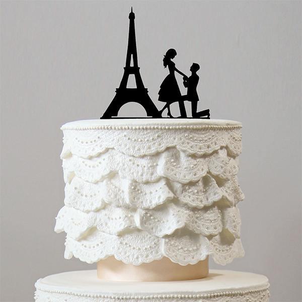 Romantic Proposing Wedding Cake Topper Engagement Paris