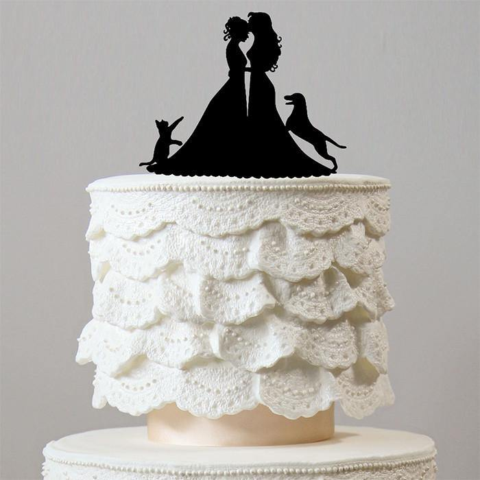 Lesbian Wedding Cake Toppers 1 Dog   1 Cat  Family Pets  Homosexual     Wedding Cake Toppers 1 Dog   1 Cat  Family Pets  Homosexual  Same