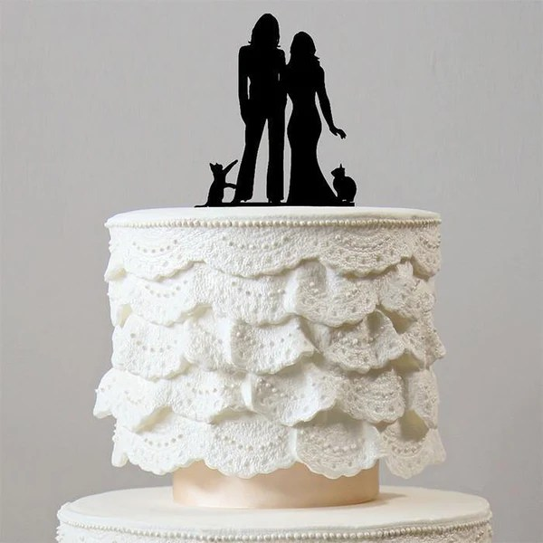 Lesbian Wedding Cake Toppers 2 Cats Family Pets