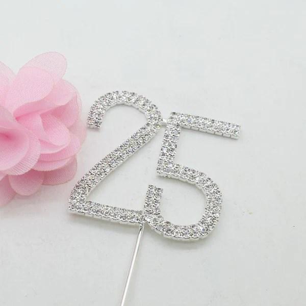 25 Number Crystal Rhinestone 25th Anniversary Cake Topper