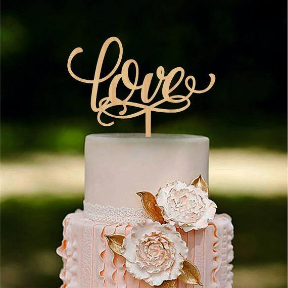 Romantic LOVE Rustic Wedding Cake Toppers Vintage