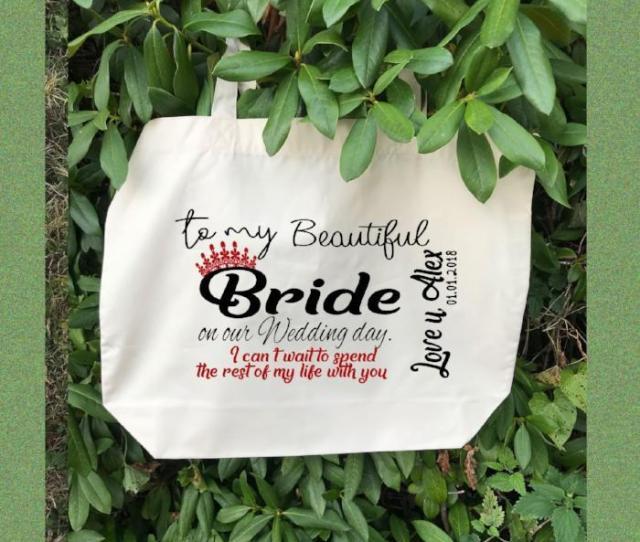 Personalised White Canvas Tote Bag Bridesmaid Bag Wedding Gifts Canvas Tote Bag