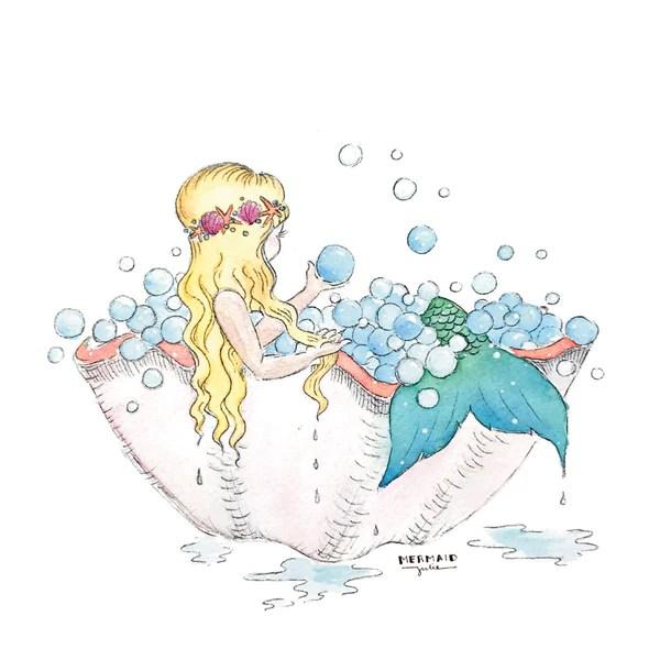 Mermaid Bubble Bath Art Prints Set Of 4 5x5 Seatail
