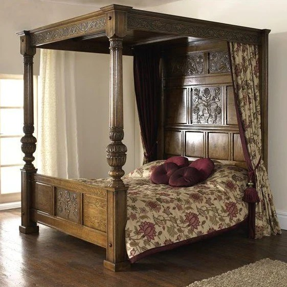 Balmoral Daisy And Rose Carved Four Poster Bed Royal Oak