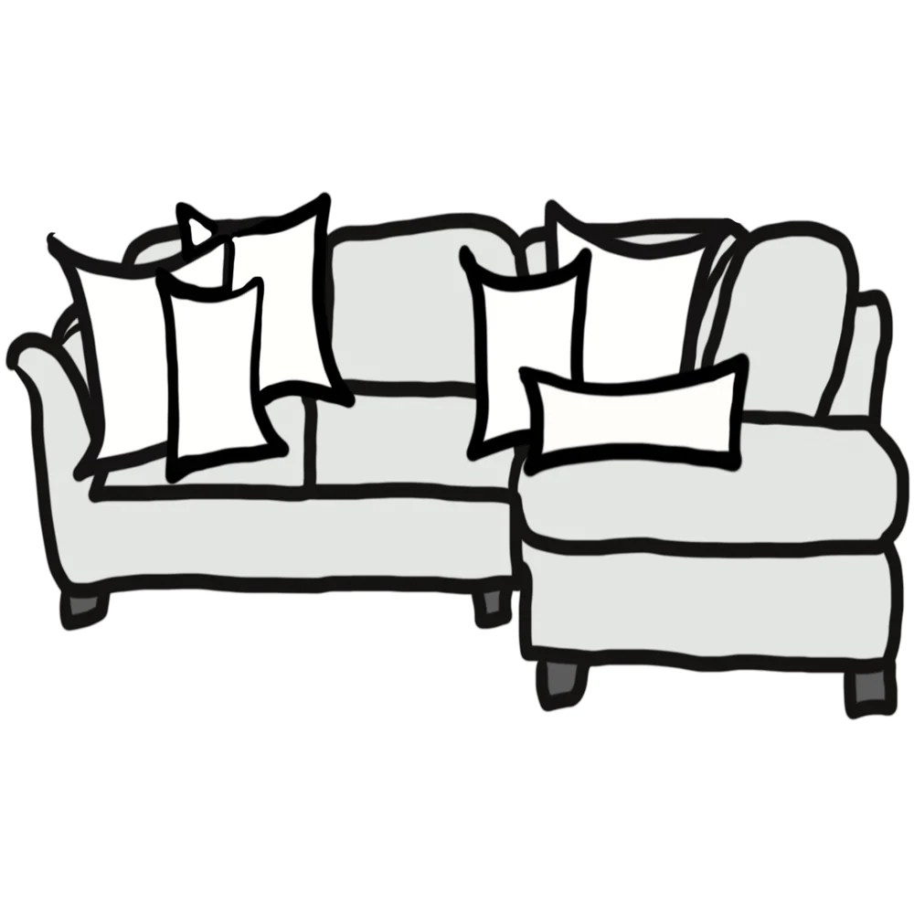 pillow size guide for sectional sofa