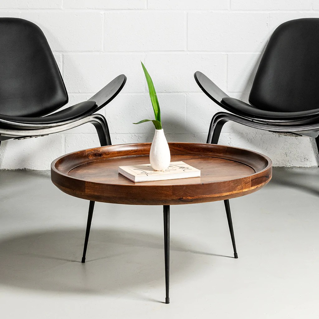 selma walnut mango wood modern round coffee table with metal legs