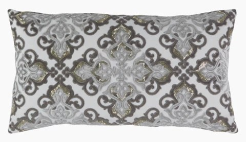 caroline grey velvet and silver beaded applique lumbar pillow