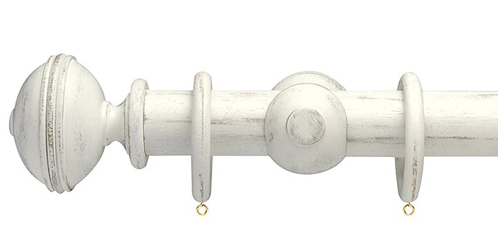 opus studio distressed chalk 35mm wooden curtain pole ribbed finial