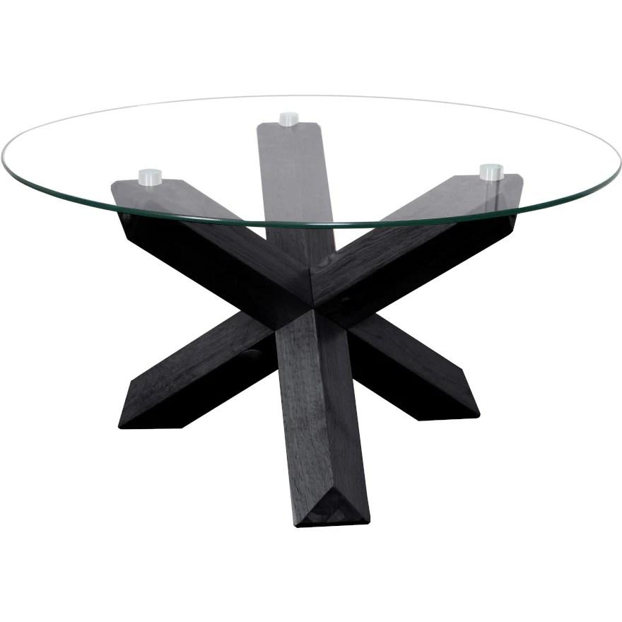 sala glass top round coffee table table 80 cm diameter black