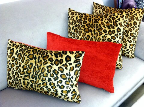 animal print throw pillow leopard red velvet lumbar