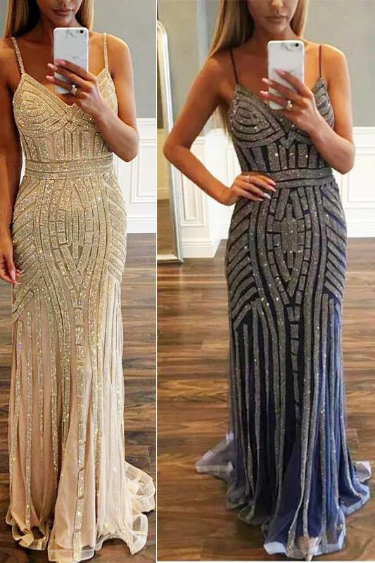 Prom DressLuxurious Mermaid Spaghetti Straps V Neck
