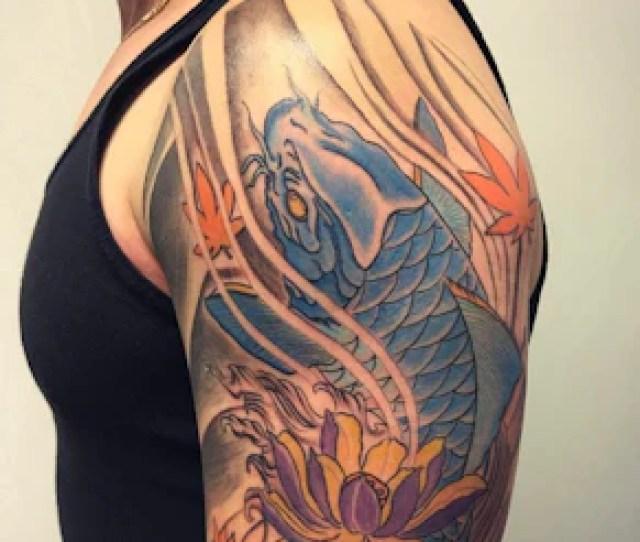 Blue Koi Fish Lotus Flowers Tattoo Design