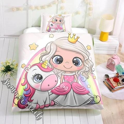 little unicorn princess bed set new