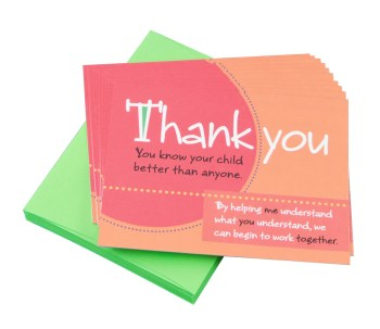 """You know your child"" Thank You Note Cards Peachy Halloween Teacher Gift Prize"