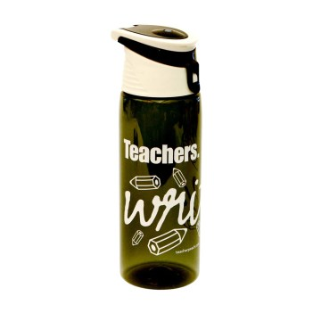 """Teachers Write."" Flip-Top Plastic Water Bottle Charcoal Peachy Halloween Teacher Gift Prize"